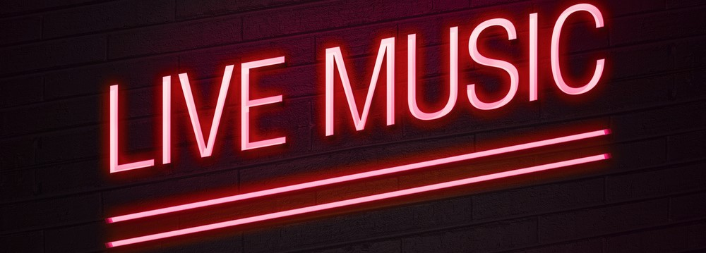 Live music neon sign for club